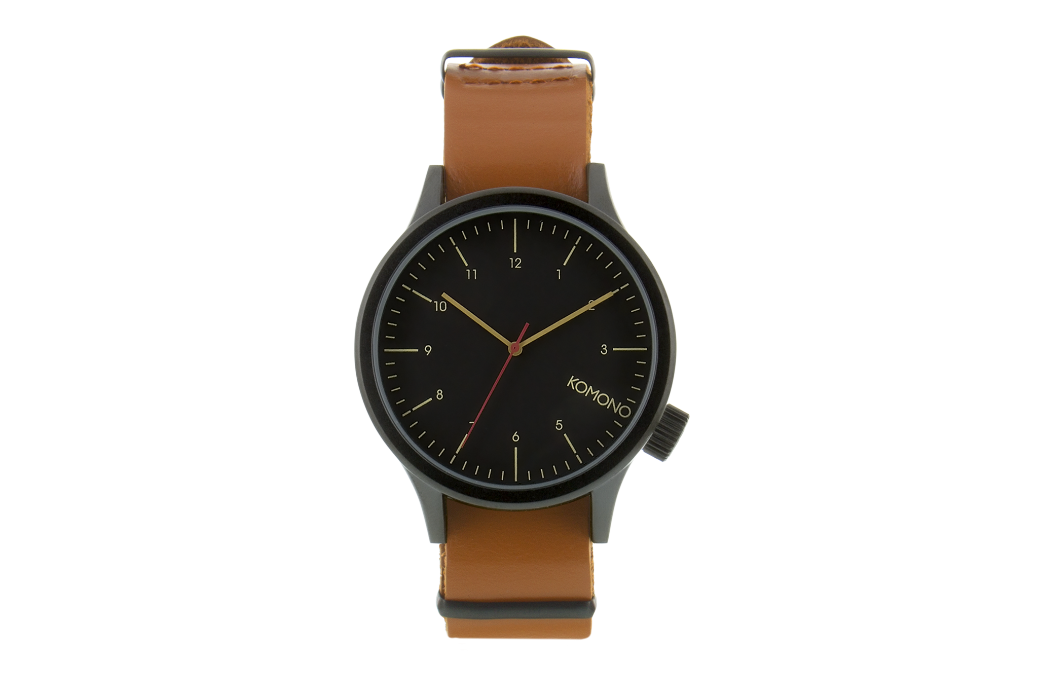 Komono Magnus Black Cognac Watch