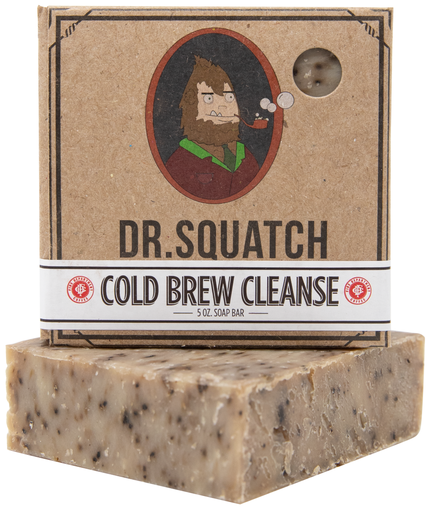 Dr. Squatch brand Cold Brew Cleanse (coffee soap) bar with bar and box shown on top