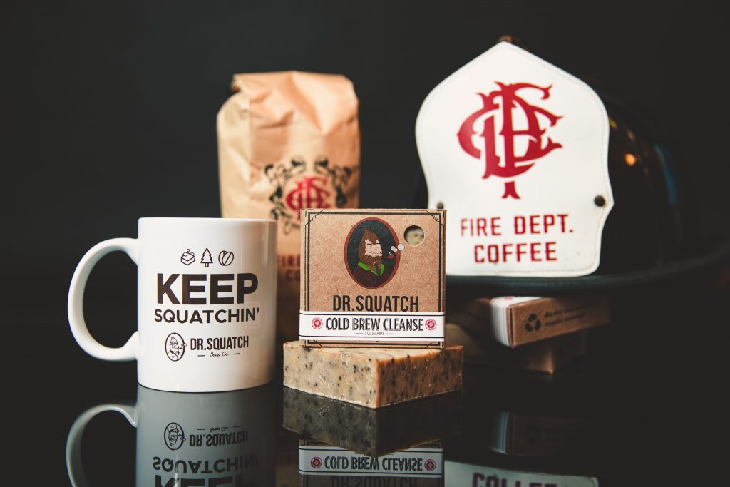 Coffee bundle including bag of Fire Dept. Coffee ground beans, Dr. Squatch mug, Cold Brew Cleanse Soap