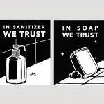 hand sanitizer or soap and water cartoon