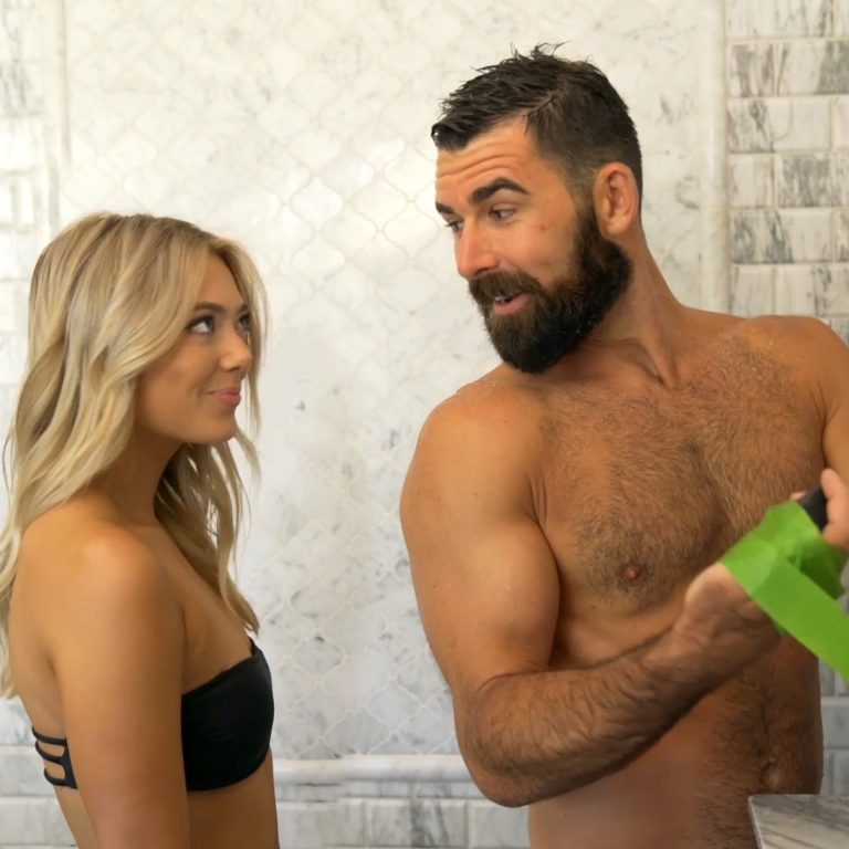 all natural soap showering with woman